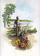Wa Painting Metal Prints - Langley Boy and Dog Metal Print by Judi Nyerges
