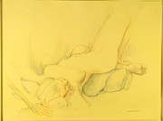 Female Nude Reclined Posters - Langour Poster by Marylou Lazos