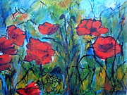 Languedoc Painting Posters - Languedoc Poppies no 4 Poster by Jackie Sherwood