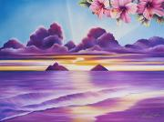 Art Medium Paintings - Lanikai Daybreak by Barbara Eberhart - Printscapes