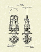 Oil Lamp Drawings Prints - Lantern 1887 Patent Art Print by Prior Art Design