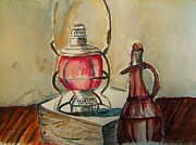 Hurricane Lamp Prints - Lantern Print by Elaine Duras