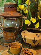 Rusty Mixed Media Framed Prints - Lantern with Baskets 2 Framed Print by Stephen Anderson