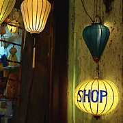 Entrance Door Posters - Lanterns at a Gift Shop Entrance Poster by Skip Nall