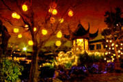 Lights Digital Art Originals - Lanterns in Chinese Garden by Julius Reque