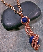 Wire-wrapped Jewelry Originals - Lapis Lazuli and Copper Swirled Spheres Pendant sml by Heather Jordan