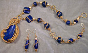 Spirals Jewelry - Lapis Lazuli and Gold Necklace-Earring Set by Heather Jordan