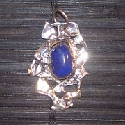Deep Jewelry Originals - Lapis Lazuli And Silver Pendant by Chris Calentine