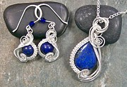 Jordan Jewelry - Lapis Lazuli and Silver Swish Set by Heather Jordan