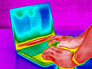 Laptop Framed Prints - Laptop Computer, Thermogram Framed Print by Tony Mcconnell