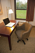 Business-travel Framed Prints - Laptop on a Hotel Room Desk Framed Print by Thom Gourley/Flatbread Images, LLC