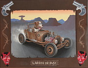 Rat Rod Painting Posters - Laredo or Bust Poster by Stuart Swartz