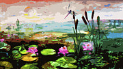 Wetland Paintings - Large Abstract Lily Pond and Dragonfly by Ginette Fine Art LLC Ginette Callaway