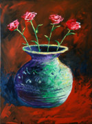 Impressionism Tapestries Textiles Originals - Large Abstract Roses in Vase Painting by Mark Webster