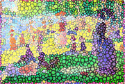 Grande Jatte Posters - Large Bubbly Sunday on La Grande Jatte Poster by Mark Einhorn