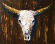 Horns Painting Framed Prints - Large Cow Skull Acrylic Palette Knife Painting Framed Print by Mark Webster
