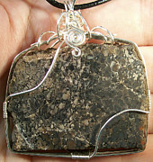 Grey Black Jewelry - LARGE Dinosaur Bone Fragment Pendant by Heather Jordan