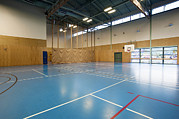 Basketball Court Prints - Large Empty Gym At A Public Recreation Print by Marlene Ford