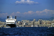 Marseille Prints - Large ferry boat entering the Marseille port Print by Sami Sarkis