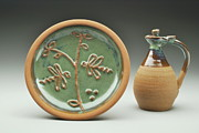 Large Ceramics - Large Garlic Plate and Olive Oil Jar by Joe Pinder