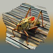 Locus Posters - Large Grass Hopper Poster by Jeffrey Graves