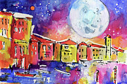 Europe Painting Acrylic Prints - Large moon Over Venice  Acrylic Print by Ginette Fine Art LLC Ginette Callaway