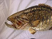 Realistic Reliefs - Large Mouth Bass Number 5 Close Up by Lisa Ruggiero