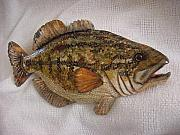 Largemouth Bass Reliefs - Large Mouth Bass number four- by Lisa Ruggiero