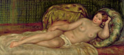 Lying Metal Prints - Large Nude Metal Print by Pierre Auguste Renoir