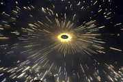 Night Metal Prints - Large number of sparks from a spinning firecracker during Diwali Metal Print by Ashish Agarwal