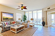 Ceiling Fan Posters - Large Oceanfront Living Room Poster by Skip Nall