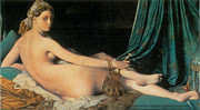Ingres Paintings - Large Odalisque by Jean-August-Dominique Ingres