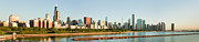 Chicago Attractions Posters - Large Panorama of the Chicago Skyline Poster by Semmick Photo