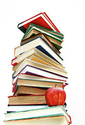 Large Metal Prints - Large pile of books isolated on white Metal Print by Sandra Cunningham