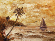 Abstract Palm Trees Prints - Large Sailboat on the Hawaiian Coast Oil Painting  Print by Mark Webster