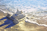 High Tide Prints - Large Sandcastle on the Beach Print by Skip Nall