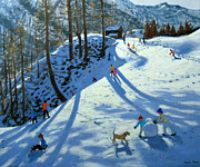 Winter Fun Painting Metal Prints - Large Snowball Zermatt Metal Print by Andrew Macara