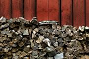 Pennsylvania Barns Photos - Large Stack Of Fire Wood Piled Next by Todd Gipstein
