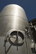 Winemaking Posters - Large Steel Vat For Wine Making Poster by James Forte