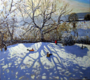 Sledging Prints - Large tree and tobogganers Print by Andrew Macara