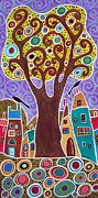 Unique Pastels Posters - Large Tree Village Poster by Karla Gerard