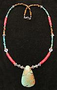 Silver Turquoise Jewelry Originals - Large Turqouise and Coral Cowgirl Necklace by Kim Souza
