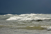 Tidal Forces Prints - Large waves pounding beach in New Buffalo Michigan Print by Purcell Pictures