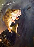 Fish Underwater Paintings - Largemouth Bass by Audrey Bunchkowski
