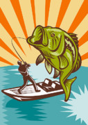 Animals Digital Art Posters - Largemouth Bass Fish and Fly Fisherman Poster by Aloysius Patrimonio