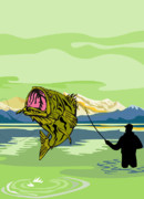 Reel Digital Art Prints - Largemouth Bass Fish jumping Print by Aloysius Patrimonio