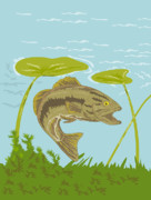Bass Digital Art Prints - Largemouth Bass Fish Swimming Underwater  Print by Aloysius Patrimonio