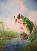 Largemouth Paintings - Largemouth bass by Jose Lugo