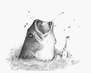 Bass Drawings Prints - Largemouth Bass Print by Josh Rowland