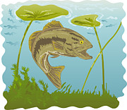 Water Lilly Posters - Largemouth Bass Jumping Poster by Aloysius Patrimonio